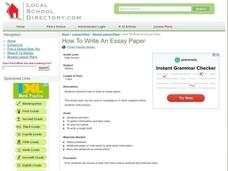 How To Write an Essay Paper Lesson Plan
