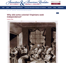 Why Did Some Colonial Virginians Seek Independence? Lesson Plan