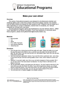 Make Your Own Slime! Activities & Project