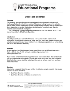 Duct Tape Bonanza! Activities & Project