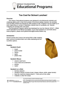 Too Cool for School Lunches! Activities & Project