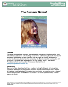 The Summer Seven! Activities & Project