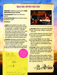 Roald Dahl-Inspired Ideas Book Lesson Plan