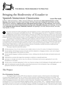 Bringing the Biodiversity of Ecuador to Spanish Immersion Classrooms Lesson Plan
