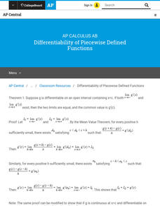Differentiability of Piecewise Defined Functions AP Test Prep