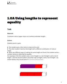 Using Lengths to Represent Equality Activities & Project