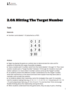 Hitting the Target Number Activities & Project