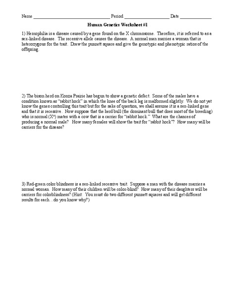 Human Genetics Worksheet For 9th Higher Ed Lesson Planet