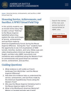Honoring Service, Achievements, and Sacrifice: A WWI Virtual Field Trip Lesson Plan
