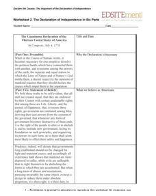 The Declaration of Independence in Six Parts Worksheet