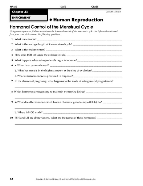 Human Reproduction Worksheet For 9th Higher Ed Lesson