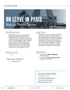 On Leave in Paris: Maps as Primary Sources Lesson Plan