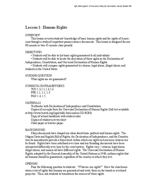 Human Rights Lesson Plan