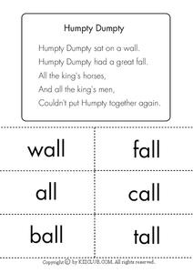 Humpty Dumpty Lesson Plan