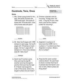 Hundreds, Tens, Ones Worksheet