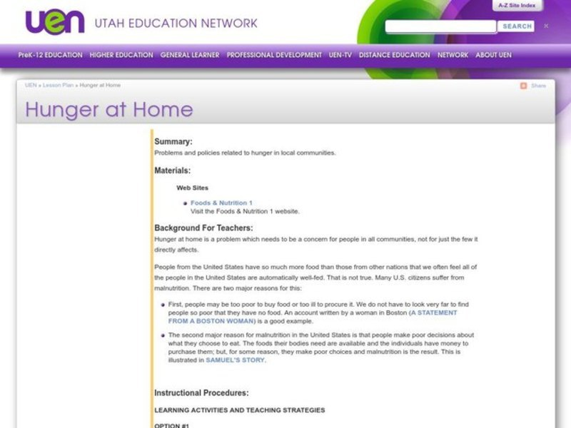 Hunger at Home Lesson Plan