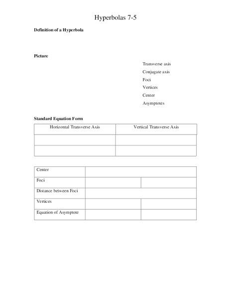 hyperbolas worksheet for 11th grade