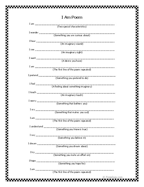i am poem worksheet for 3rd 8th grade lesson planet. Black Bedroom Furniture Sets. Home Design Ideas