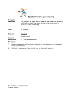 Formative Assessment #1: Structure/Function Assessment