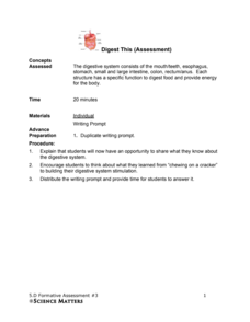 Formative Assessment #3: Digest This Assessment