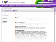 I Can't Breathe! Lesson Plan