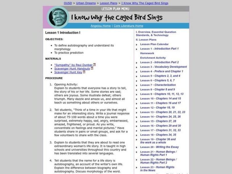 I Know Why the Caged Bird Sings Lesson Plan