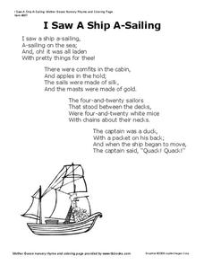 I Saw a Ship A-Sailing Worksheet