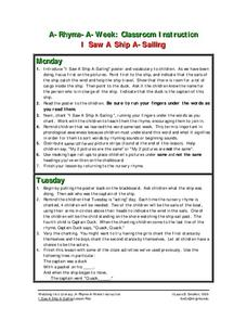 I Saw A Ship A-Sailing Lesson Plan