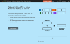 Add and Subtract Three Mixed Numbers: Walking to School Interactive