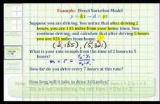 Direct Variation (Distance = Rate x Time) Example Video