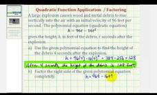 Quadratic Equation Application - Evaluate and Factor (Example) Video