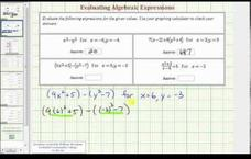 Evaluate Algebraic Expressions - Advanced (Example 3) Video