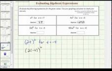 Evaluate Basic Algebraic Expressions (Example 1) Video
