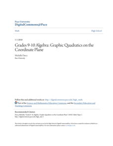 Grades 9-10 Algebra: Graphic Quadratics on the Coordinate Plane Lesson Plan