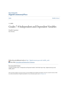 Grades 7-8 Independent and Dependent Variables Lesson Plan