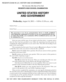 US History and Government Examination: August 2013 Assessment