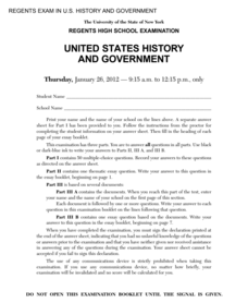 US History and Government Examination: January 2012 Assessment