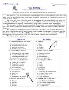 Ice Fishing Worksheet