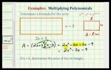 Find the Area of a Rectangle Using a Polynomial (Example) Video