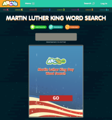 Martin Luther King Word Search Interactive