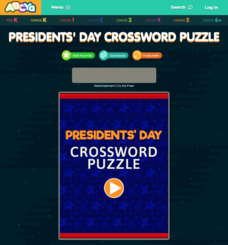 Presidents' Day Crossword Puzzle Interactive