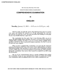 Comprehensive English Examination: January 2011 Assessment