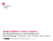 "Building Background Knowledge and Summarizing: ""Refugees: Who, Where, Why"" Part 2 Lesson Plan"