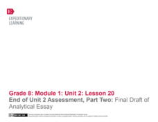 End of Unit 2 Assessment, Part Two: Final Draft of Analytical Essay Lesson Plan