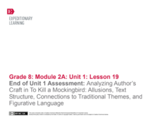 End of Unit 1 Assessment: Analyzing Author's Craft in To Kill a Mockingbird: Allusions, Text Structure, Connections to Traditional Themes, and Figurative Language Lesson Plan