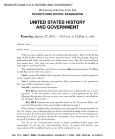 US History and Government Examination: January 2011 Assessment