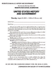 US History and Government Examination: August 2011 Assessment