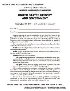 US History and Government Examination: June 2010 Assessment