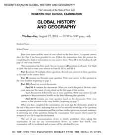 Global History and Geography Examination: August 2011 Assessment