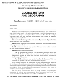 Global History and Geography Examination: August 2010 Assessment